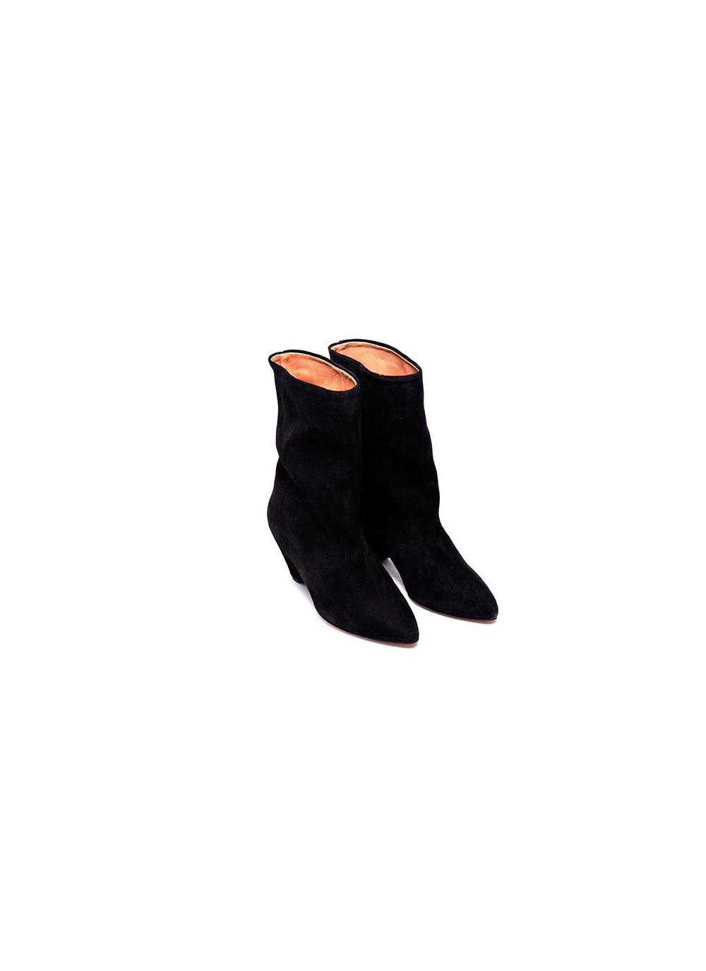 4e8aadcb988 Cool mid high shaft boots with semi pointy toe in a soft suede.